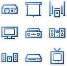 Entertainment Center,Projection Equipment,Television Set,Symbol,Outline,Boom Box,Computer Icon,DVD,Blue,High-definition Television,Sign,Icon Set,Contour Drawing,Web Page,Sound,Vector,Playing,Connection,Projection Screen,Music,Stereo,Speaker,White,Technology,Interface Icons,Vector Icons,TV-Set,v2,Technology Symbols/Metaphors,Control,Illustrations And Vector Art,Internet,Shadow,Wide,Computers
