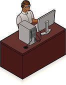 Isometric,Call Center,Desk,IT Support,Customer Service Representative,Men,Service,Office Interior,Desktop PC,Computer Icon,PC,Working,Occupation,Computer Monitor,Ilustration,Vector,customer care,Vector Icons,Computers,Technology,data entry,Illustrations And Vector Art,People