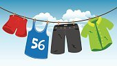 Vector,Front or Back Yard,Wind,Summer,Design Element,Clothespin,Washing,Fashion,Housework,Shirt,Freshness,Air,Design,Hanging,Computer Graphic,Clothing,Top - Garment,Blue,Blouse,Concepts,Sky,Pants,Rope,Garment,Dress,Drawing - Art Product,Wet,Outdoors,Clothesline,Dry,Cartoon,Ilustration,Backgrounds,Season,T-Shirt,Laundry