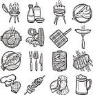 Picnic,Ornate,Collection,Flame,Icon Set,Kitchen Utensil,Sweet Sauce,Grille,Grilled,Ketchup,Kebab,Sauces,Glass - Material,Symbol,Doodle,Food,Skewer,Human Hand,shaslick,Ilustration,Party - Social Event,Kitchen,Insignia,Heat - Temperature,Concepts,Sausage,Drawing - Activity,Food State,Preparation,Set,Outdoors,Computer Icon,Beer - Alcohol,Barbecue,Beef,Equipment,Meat,Barbecue Grill,Summer,Single Object,Isolated,Cooking,Oven,Sketch,Fork,Vector,Fire - Natural Phenomenon,Glass,Design Element,Prepared Fish,Design,Steak