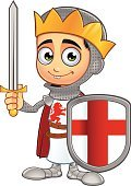 Knight,Dragon,Saint,Medieval,Warrior,Celebration,Holiday,Characters,Teenage Boys,Cartoon,Work Helmet,History,Army Soldier,Christianity,Cross,Croatia,King,Male,Cross Shape,England,Ilustration,Sword,Fantasy,Weapon,Mascot