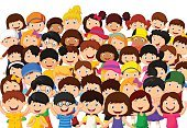 Large Group Of People,Smiling,Cute,Illustration,Humor,Cheerful,Girls,Boys,People,Preschool Age,Group Of People,Crowd,Happiness,Child,Fun,Vector,Cartoon,Action