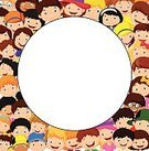 Smiling,Happiness,Cheerful,Illustration,Cartoon,Humor,Vector,People,Group Of People,Circle,Backgrounds,Girls,Large Group Of People,Preschool Age,Symbol,Fun,Cute,Boys,Child,Crowd,White