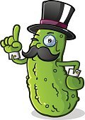 Kosher Dill Pickle,Attitude,English Culture,Dill Pickle,Garnish,Mascot,High Society,Pickle,British Culture,Cartoon,Snack,Old-fashioned,Wealth,Top Hat,Cucumber,Characters,Cheerful,Monocle,Pickled,Food,Fashion,Luxury,Men,Handlebar Mustache,Mustache,Millionnaire,Kosher,Englishman,Elegance,Vegetable,Formalwear,Winking,Smiling,Cuff Link,Dill,Cuff,Pointing
