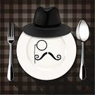 Fork,Hat,Spoon,Plate,Plaid,Checked,Eyeglasses,Mustache,Design Element,Symbol,Modern,Male,Design,Hipster,Style,Human Face,Restaurant,Fashion,Youth Culture,Ornate,Elegance,Place Setting,Dinner,Happiness,Luxury,Holiday,Characters,Food,Adult