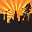 City Of Los Angeles,Los Angeles County,Urban Skyline,Vector,City,New York City,Airplane,Skyscraper,Palm Tree,Urban Scene,Orange Color,Yellow