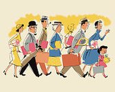 People,Horizontal,Suitcase,Briefcase,Walking,Carrying,Adult,Urgency,Striding,Illustration,Pop Art,Large Group Of People,Medium Group Of People,Men,Women,Luggage,Adults Only,2015
