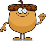 Seed,Smiling,Vector,Waving,Nut - Food,Illustration,Clip Art,Cartoon,Computer Graphic,Cheerful,Happiness,Acorn