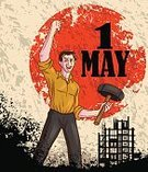 May Day,Labor Day,Backgrounds,Communism,Men,Greeting,People,National Landmark,socialism,May 1,Event,Day,Patriotism,Achievement,nation,Illustration,selectable,May,Vector,Celebration