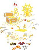 Picaroon,Rover,Picaroon,freebooter,filibuster,corsair,Sea Dog,Saber,over white,Isolated On White,Vector,Bandana,Gun,Handgun,buccaneer,Treasure Box,Pistol,Sword,Binoculars,Pipe,White Background,Illustration,Pirate,Parrot,Anchor,Treasure Chest,Dresser,Steering Wheel,Wheel,Isolated