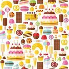 Backgrounds,Ice Cream,Chocolate,Cupcake,Cake,Gelatin Dessert,Candy Cane,Symbol,Chocolate Chip,Set,Vector,Pancake,Pattern,Computer Icon,Lollipop,Cookie,Flat,Candy,Seamless,Cute,Sweet Food,Multi Colored