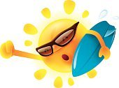 Vector,Symbol,Sun,Happiness,Clip Art,Heat - Temperature,Holiday,Sunlight,Sunny,Cute,Recreational Pursuit,Animated Cartoon,Cartoon,Summer,Season,Temperature,White,Humor,Illustration,Characters,Yellow,Vacations,Isolated,Weather,Mascot,Fun,Holding,Surfing,Surfboard,Water Sport,Sunglasses,Smiling,Backgrounds