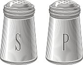 Salt,Salt Shaker,Vector,Illustration,Etching,Eating,Pepper Shaker,Pepper,Woodcut,Cooking,Condiment,Spice,Ingredient,Recipe,Tasting,Drawing - Art Product,Engraved Image