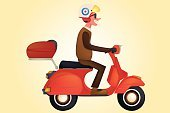 Motor Scooter,Work Helmet,Motorcycle,Riding,Riding,Smiling,People Traveling,Old-fashioned,Land Vehicle