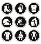 Safety,Symbol,Interface Icons,Healthy Lifestyle,Blade,Safety Harness,Laboratory,Garbage,Insignia,Badge,Set,Drawing - Art Product,Black And White,Collection,mandatory,Protection,Equipment,Clothing,White,Electric Saw,Tank Top,Protective Glove,Elevator,Garbage Bin,Isolated,Coveralls,Seat Belt,Shoe,Boot,Illustration,Monochrome,Art Product,Grayscale,Industry,Engineering,Construction Industry,Backgrounds