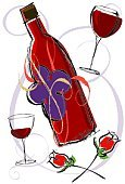 Wine,Rose - Flower,Wine Bottle,Wineglass,Red Wine,Glass,Alcohol,Yellow,Red,Drink,Black Color,Port Wine,Merlot Grape,Alcohol,Drinks,Illustrations And Vector Art,Cabernet Sauvignon Grape,Pinot Noir Grape,Shiraz Grape,Food And Drink