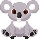 Humor,Happiness,Toy,Cheerful,Animal,Sitting,Animals In The Wild,Mammal,Gray,Marsupial,Koala,Australia,Animal Hair,Cute,Softness,Illustration,Cartoon,Mascot,Vector,Characters,2015,61811