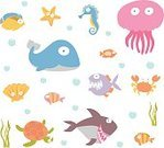 Underwater,Animal,Clown,Whale,Dolphin,Horse,Starfish,Jellyfish,Sea Horse,Turtle,Algae,Sea,Whale Shark,Postcard,Cute,Illustration,Vector,Sea Life,Collection,Critter,2015,Clip Art,Undersea