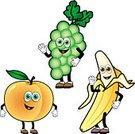 Cartoon,Fruit,Peach,Banana,Food,Mascot,Grape,Characters,Cheerful,Smiling,Cute,Clip Art,Healthy Eating,Orange Color,Happiness,Vector,Fun,Waving,Multi Colored,Green Color,Sweet Food,Icon Set,Leaf,Peel,Freshness,Food And Drink,Eccentric,Isolated On White,Ripe,Stem,Yellow