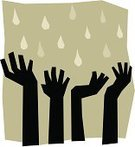 Reaching,Human Hand,Human Arm,Thirsty,Monsoon,Rain,African Descent,Storm,Ethnic,Raining Cats and Dogs,Vector,Natural Disaster,Ilustration,Black Color,Falling Water,Nature Symbols/Metaphors,People,Actions,Nature