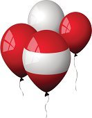 Balloon,Red,Austria,Flag,Austrian Flag,White,Party - Social Event,Window,Celebration,Helium Balloon,Holidays And Celebrations,Isolated Objects,Reflection,Shiny,Illustrations And Vector Art