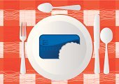 Missing Bite,Biting,Credit Card,Credit Crunch,Lunch,Plate,Lunch Break,Vector,Dinner,Table,Fork,Textile,Tablecloth,Paying,Silverware,Table Knife,Service,Finance,Dating,Spoon,Red,Food And Drink,Concepts And Ideas,Illustrations And Vector Art,Blue,Consumerism,Vector Backgrounds,Eating,Meal,Ilustration