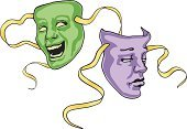 Theater Mask,Comedy Mask,Mask,Theatrical Performance,Tragedy Mask,Humor,Actor,Stage Theater,Entertainment,Acting,Vector,Symbol,Film Industry,Laughing,Sign,Performing Arts Event,Arts And Entertainment,Theatre,Illustrations And Vector Art,Ilustration,Sadness,vector illustration