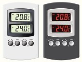 Thermostat,Thermometer,Digital Display,Temperature,Control,Retail Display,Heat - Temperature,Liquid-Crystal Display,Electronics Industry,Vector,Instrument of Measurement,Isolated,Celsius,Weather,Outdoors,Equipment,Technology,Red,Computer Graphic,Cold - Termperature,White,Inside Of,Eyesight,Black Color,Silver Colored,Season,Isolated Objects,Ilustration,Illustrations And Vector Art,Objects/Equipment,Isolated-Background Objects,Vector Cartoons,Household Objects/Equipment,Meteorology