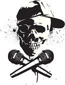 Microphone,Human Skull,Rap,Hip Hop,Graffiti,Music,Vector,Urban Scene,Design,Baseball Cap,Spray,Paint,Ilustration,Design Element,Ink,Music,Isolated Objects,Arts And Entertainment,Illustrations And Vector Art