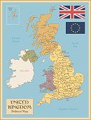 Old,Geographical Locations,City,Flag,Europe,Map,UK,Scotland,Wales,England,Brown,Yellow,Old,Old-fashioned,Paper,Land,Glasgow,Liverpool - England,Birmingham - England,Northern Ireland,Manchester - England,London - England,Gold Colored,Illustration,Vector,Retro Styled,Capital Cities,Cartography,Contour Drawing,Regions,2015,Cartography,Isolated