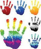 Handprint,Rainbow,Human Hand,Color Image,Colors,Cartoon,People,Multi Colored,Blue,Red,Vector,right,Gray,Arts Symbols,Arts And Entertainment,Arts Abstract,Silver Colored,Ilustration,Illustrations And Vector Art