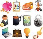 Credit Card,Religious Icon,Laptop,Savings,Finance,Financial Advisor,Icon Set,Symbol,Currency,Computer Icon,Business,Palmtop,Security,Key,Combination Lock,Hammer,Lock,Mail,Vector,Wrench,Briefcase,Electronic Organizer,Coffee - Drink,Bank Account,Personal Data Assistant,Global Communications,Isolated Objects,Illustrations And Vector Art
