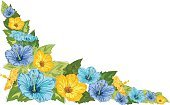 Corner,Hibiscus,Blue,Scribble,Tropical Climate,Drawing - Art Product,Green Color,Yellow,Vector,Flowers,Vector Florals,Nature,hand drawn,Ilustration,Illustrations And Vector Art