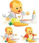 Baby,Eating,Child,Feeding,Food,Healthy Lifestyle,Ilustration,Healthy Eating,Smiling,Food And Drink,Vector,Milk,Pureed,Hungry,Breakfast Cereal,Pap,Apple - Fruit,Powdered Milk,Carrot,feeding-bottle,Breakfast,gruel,Spoon,Solid,Orange Color,Red,Yellow,Shadow,Vector Icons,Food And Drink,aqua style,Illustrations And Vector Art,People,Eating