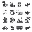 Ticket,Bus,Restaurant,Airport,Vector,Summer,Beach,Sea,Air,Symbol,Map Marker,Car,Smart Phone,Food,Mobile Phone,Luggage,Sign,Suitcase,Co-Pilot,Camera - Photographic Equipment,Passport,Sleeping,Hotel,Vacations,Illustration,Airplane,Nautical Vessel,Nature,Service