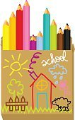 Education,Child,Pencil,Box - Container,Drawing - Activity,Vector,House,Ilustration,Paint,Sheep,Three-dimensional Shape,Tree,Fun,Back to School,Carton,Sun,Multi Colored,Wood - Material,Vitality,Doodle,Vibrant Color,Color Box,Colors,Sketch