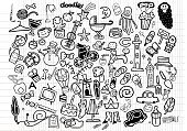 Computer Graphics,Symbol,Sign,Creativity,Science,Pencil,Ink,Decoration,Backgrounds,Computer Graphic,Child,Outline,Abstract,Illustration,Group Of Objects,Doodle,Vector,Collection,Backdrop,Scribble,2015