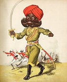Activity,Aggression,Motion,Humor,The Past,History,Uniform,Weapon,Vertical,Victorian Style,Facial Hair,Beard,Furious,Indian Subcontinent Ethnicity,Walking,Standing,Holding,Army Soldier,Horse,Curve,Indian Culture,Turban,Military,Adult,Color Image,Sword,British Empire,Illustration,Engraved Image,Antique,Cartoon,Men,Satire,Jockey,British Military,19th Century Style,Military Uniform,Print,Indian Ethnicity,2015,Scimitar,Scimitar,19th Century,The Raj,60013,78279