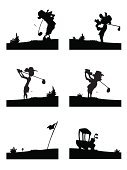 Golf,Women,Golf Ball,Golf Swing,Silhouette,Men,Golf Bag,Golf Club,Tee,Isolated,Sport,Swinging,Teeing Off,Flag,Bush,Sports And Fitness,Golf,Illustrations And Vector Art,People,Golf Iron,Traditional Sport,golf vehicle,Golf Wood