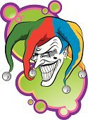 Joker,Clown,Jester's Hat,Bizarre,Spooky,Mental Illness,Human Face,Hat,Rebellion,Party Hat,Cruel,Men,Laughing,Scar,Mid Adult Men,Conspiracy,Senior Adult,White,Backgrounds,Wind Chime,Mole - Skin,Human Teeth,Human Skin,Humor,Illustrations And Vector Art,Concepts And Ideas,Wrinkled,Holidays And Celebrations,Multi Colored,Slim,Long,Vector Cartoons,Halloween,Feelings And Emotions