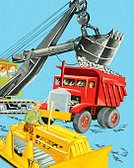 Equipment,Bulldozer,Construction Industry,Land Vehicle,Vertical,Manual Worker,Earth Mover,Digging,Dump Truck,Illustration,Pop Art,Incidental People,Colored Background,2015,Blue Background
