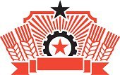 Wheat,China - East Asia,Politics,Retro Revival,Gear,Banner,Style,Insignia,Badge,Ribbon,Vector,White,Black Color,Red,Placard,Design Element,Star Shape,Power,Vector Ornaments,Illustrations And Vector Art,Cool,Shape,Clip Art,Concepts And Ideas