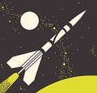 Futuristic,Space Travel Vehicle,Flying,Taking Off,Rocket,Space,Full Moon,Illustration,Pop Art,Line Art,Two Objects,No People,Vector,2015,Number Of Objects