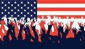 Voting,Election,Fourth of July,President,USA,American Culture,Republican Party,Crowd,People,Backgrounds,Red,The Americas,Human Hand,White,Spectator,Blue,Vector,Star Shape,Democratic Party