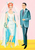 People,Clothing,Love,Vertical,Bride,Bridegroom,Married,Wedding,Adult,Illustration,Pop Art,Two People,Men,Women,Fashion,Colored Background,Adults Only,Husband,Wife,2015,Pink Background