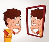 Ugliness,Shock,Depression - Sadness,Emotional Stress,Surprise,Mirror,Problems,Facial Mask - Beauty Product,Human Body Part,Human Face,Pimple,Reflection,Despair,Beauty,Child,Teenager,Acne,Illustration,Nerd,Careless,Boys,Vector,2015,Growing Pains