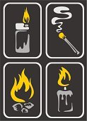 Smoke - Physical Structure,Candle,Cigarette Lighter,Fire - Natural Phenomenon,Flame,Symbol,Frame,Sign,Vector,Danger,Icon Set,Black Color,Heat - Temperature,Burning,Light - Natural Phenomenon,Ilustration,Design,Warning Sign,Concepts,Posing,Yellow,Imagination,Ideas,Image,Vector Icons,Vector Cartoons,Illustrations And Vector Art,Isolated Objects,Gold Colored,Ornate