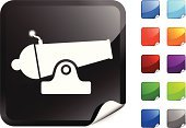 Cannon,Symbol,Vector,Digitally Generated Image,Computer Graphic,Computer Icon,Aggression,Black Color,Shooting,Label,Metal,War,Shiny,Design,Blue,Weapon,Orange Color,Ilustration,Red,Purple,Green Color