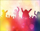 Bright,Pop,People,Satisfaction,Happiness,Enjoyment,Joy,Shiny,Togetherness,Human Body Part,Dancing,Human Limb,Human Arm,Ink,Jumping,Bright,Multi Colored,Circle,Light - Natural Phenomenon,Spray,Silhouette,Childhood,One Person,Fun,Child,Music,Outline,Illustration,Glowing,Group Of People,Males,Boys,Girls,Leisure Activity,Dancer,Vector,Hand Raised,Children Only,2015,Grunge,Limb,Color Gradient