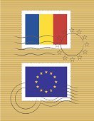 Romania,Postage Stamp,Flag,Mail,Postmark,Blue,Red,Yellow,Pattern,Business,Travel Backgrounds,Travel Locations,Printout,Symbol,Europe,Delivering,Illustrations And Vector Art,Business Travel,Vector Icons,Design Element,Vector,Sending,Ilustration,European Union,European Union Flag